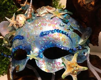 Splash!, Mardi Gras, halloween, party mask, mermaid mask, cosplay mask, sea shell mask, themed mask