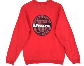 Rare! Vans Sweatshirt Red colour Big Logo Embroidery Sweat Medium Size Jumper Pullover Jacket Sweater Shirt Vintage 90's