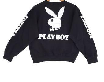 Playboy bunny Sweatshirt Black colour Big Logo Embroidery Sweat Medium Size Jumper Pullover Jacket Sweater Shirt Vintage 90's