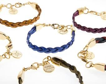 Italian Leather Bracelet-braided Gold Finish With ferrules In Zamak. M-113-O