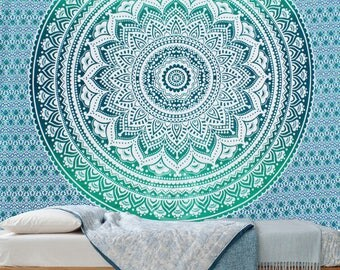 Boho Queen Size Mandala Tapestry - Green Star
