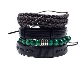 4 Pack Green and Black Bracelet Set