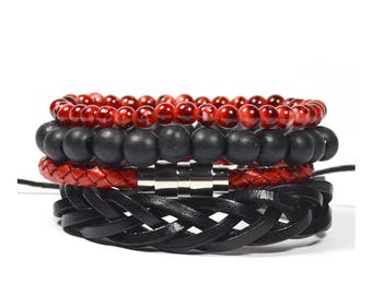 4 Pack Leather/Wood in Red and Black Bracelet Set