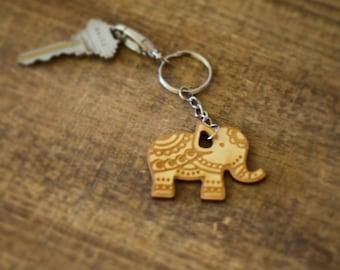 Elephant Keychain, Elephant Keyring, Elephant Zipper Pull, Good Luck Charm, Wood Elephant, Gift for Animal Lover, Gift for Elephant Lover