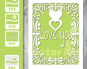 Cuttable and printable Card - Love you