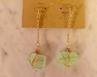 Grean Sea Foam Grean Sea Glass Dangle Earrings- Hippy Jewelry- Beach Earrings- Sea Glass Jewelry- Festival Jewelry- Island jewelry