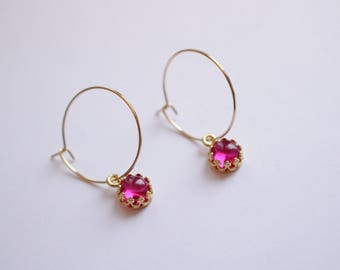 Ruby Earrings brass and gold plated
