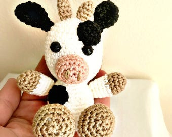 Crochet animal- Amigurumi toy- Amigurumi animal- Crochet cow- Stuffed cow- Stuffed animal- Baby gift- Baby cow- Amigurumi cow- New born gift