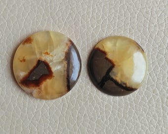 Septarian 2 Pieces Lot, Round Shape Gemstone, Septarian Stone Size 25x25x7, 28x28x7 MM Approx, Loose Semi Precious Stone Weight 78 Carat