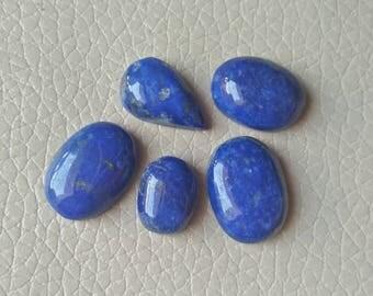 5 Piece Blue Lapis Cabochon 53 Carat, Natural Lapis Cabochon,Blue Lapis for Jewelry Making Stone, Blue Lapis Cabochon 100% Natural Lapis.