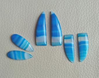 Beautiful 3 Piece Matching Pair Set Natural Botswana Agate Gemstone, 68 Carat Designer Cabochon Gemstone, Beautiful Jewelry Pair Gemstones.