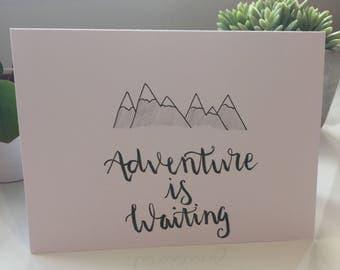 Handmade 'adventure is waiting' card