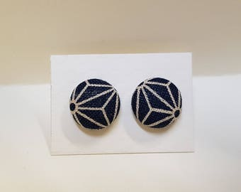 Button Earrings in cotton