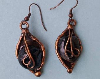 Copper Earrings with Onyx