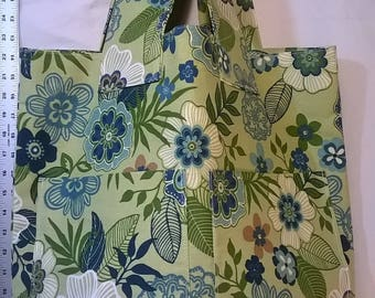Green and Blue Floral Tote w/Yellow Vinyl Bottom