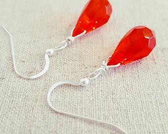 Red Earrings • Red Dangle Earrings • Red Drop Earrings • Red Glass Earrings • Red Teardrop Earrings • Red Silver  Earrings • Red Jewelry