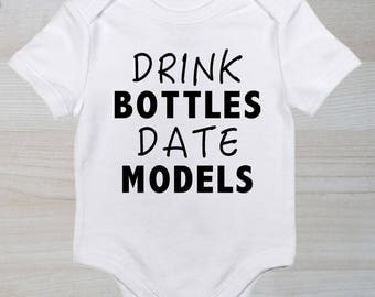 Funny baby boy onesie - Drink Bottles Date Models - Baby Bodysuit - Baby Shower gift