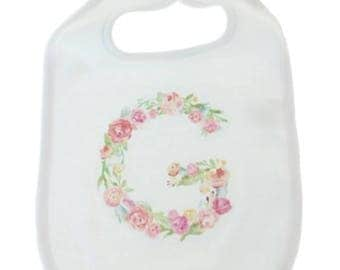 Girls bib with customized floral initial