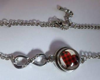 Mini Plaid Heart Infinity bracelet