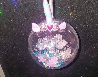Personalised unicorn bauble
