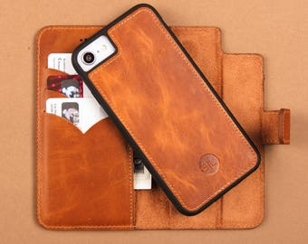 Leather iPhone 7 Case Brown iPhone 7 Case Minimalist iPhone 7 Detachable iPhone 7 Wallet Case Engraved iPhone 7 Card Holder Real Leather