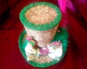 STEAMPUNK mini top hat Mad Hatter Alice in Wonderland Lolita green cosplay steampunk accessories