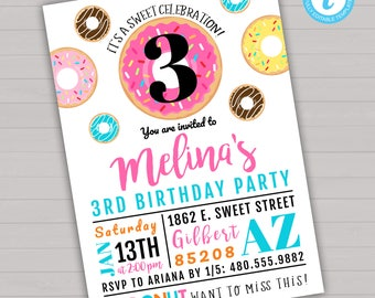 Donut Birthday Invitation, Editable Birthday Invitation, Donut Birthday Party, Girl Birthday Invitation, Donut Invitation, Donut Invite
