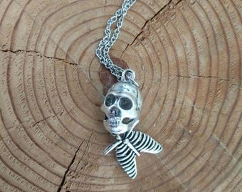 Rib Cage and Skull Halloween Pendant Necklace