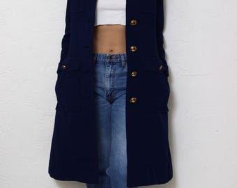 Military Winter coat heavy jacket 70s jacket thick lining navy jacket