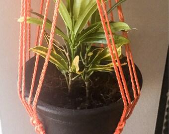 Bold Orange triple knotted plant holder