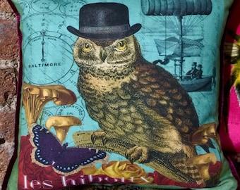 Owl in Hat Steampunk Cushion