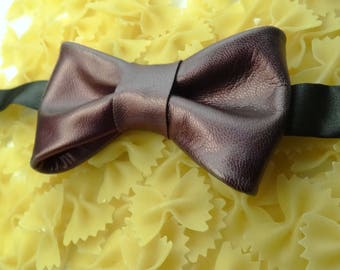 Bow tie brown leather