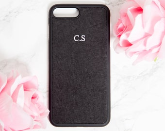 iphone 7 Plus case,  iphone 8 Plus case, personalised,  Black, saffiano, Customised, embossed leather, Iphone 8+, monogrammed, iphone 7+