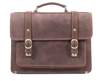 Brown leather vintage briefcase crazy horse leather bag leather business bag leather laptop bag leather work bag crossbody bag shoulder bag