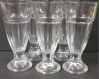 5 Vintage  Ice Cream / Dessert Pressed Glasses.  - Made in France