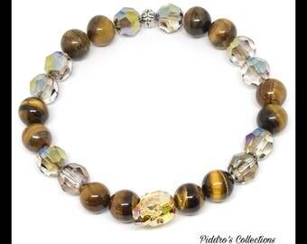 Metallic Sunshine Swarovski Crystal Skull Bracelet