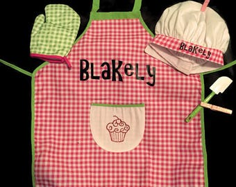 Kid's Personalized Apron Set