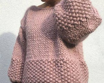 Chunky knit Sweater jumper 100 % wool & handmade ROSE