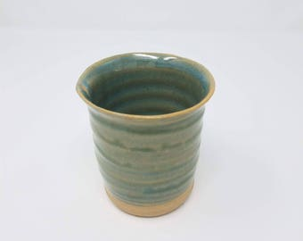 Small handmade cup for storage. Sea green