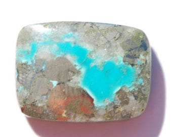 Natural Morenci turquoise, rectangle cabochon, 21 x 15mm,  21.08 ct, turquoise and silver colored iron pyrite, fool's gold matrix