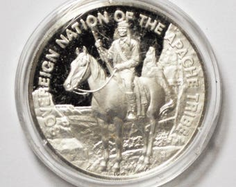 Sovereign Nation of the Apache 1971 Franklin Mint .999 Silver Medal