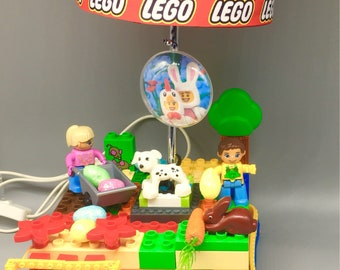 Easter Egg Hunt Duplo Toddler Lego lamp with detachable Easter props