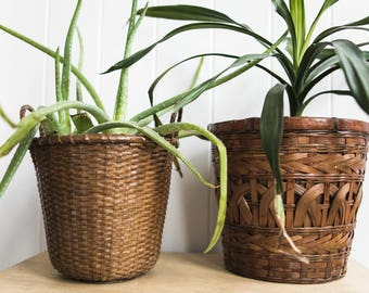 Set of Two Woven Planter Baskets // Rattan Woven Plant Baskets // Home Decor Basket // Medium Sized Baskets