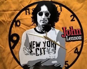 John Lennon Vinyl Record Wall Clock Decorate your home with Modern Large upcycled 12''