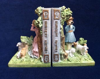 Vintage Bookends. Nursery Rhyme Bookends. Kitsch 80's Bookends.