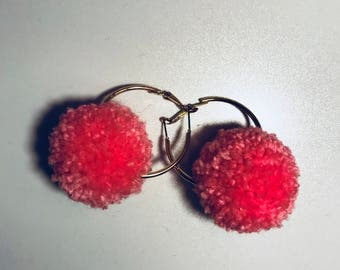 Custom made Pom Pom hoop earrings