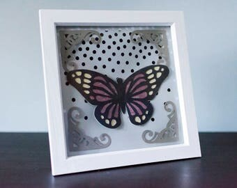 Shadow box, Butterfly with lights. Various images, colours available