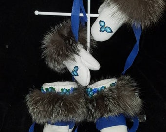 Warm and beautiful hand beaded mittens and mukluks