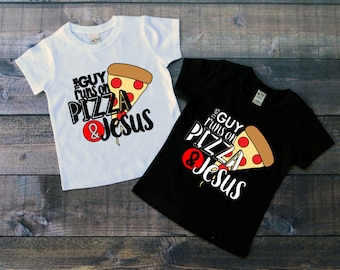 Children's Tee Shirt, This Guy Runs on Pizza and Jesus, Kids T-Shirt, Black or White Tee, Infants, Toddler, Youth, Boys Pizza Shirt