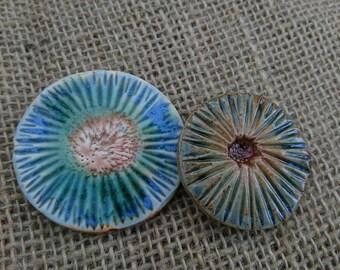 Set of Two handmade ceramic rustic cabochons/fridge magnets/card making/scrapbooking/gifts/jewellery making. Embellishing.